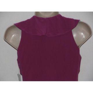 Linda Segal Fuschia Ruffle V Neck Belted Faux Wrap Tunic Tank Top Size