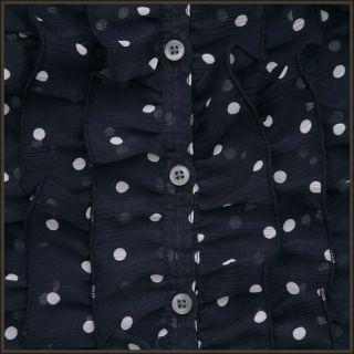Hollister Women Navy Blue Polka Dot Ruffle Top Shirt Paradise Cove