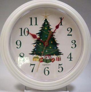 Ingraham White Round Wall Clock Green Christmas Tree Presents 8 75