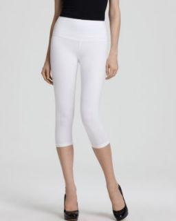 Lisse Leggings New White Stretch Pull on Flat Front Capri Crop