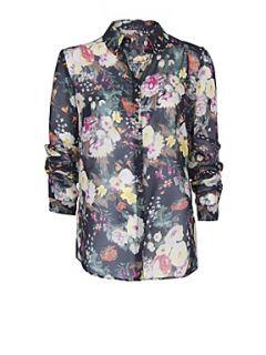 Mango Floral print chiffon shirt Black