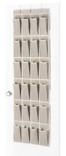 6082 13 Natural Linen Soft Storage Over The Door Shoe Organizer