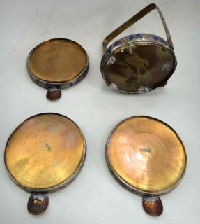 Vintage Brass Enamel Ashtray Set Carrier Made in China
