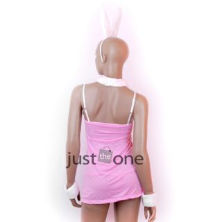 Hot Sexy Dress Lingerie Costume Outfit Pink Rabbit Sets