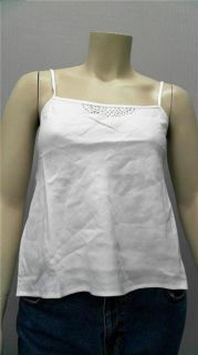 Lino USA Curve Ladies Womens 18 Metallic Camisole Top White Studded