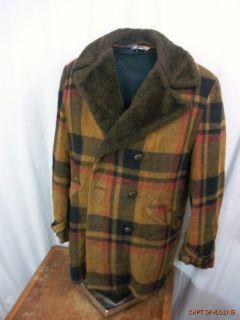 Vtg 60s Schott Plaid Wool Car Coat Fur Collar Mens M