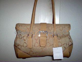 Liz Claiborne Signature Print Purse Satchel Handbag Tote Bag Shoulder