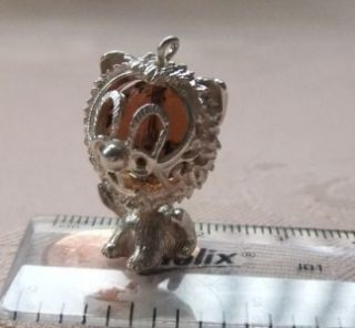 LARGE DETAILED VTG STERLING SILVER CRYSTAL LION BRACELET CHARM   MOVES