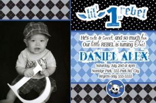 Lil Little Rebel 1st Birthday Invitations Grunge
