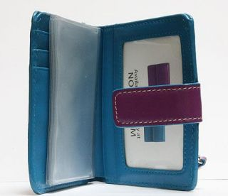 Lodis Audrey Wallet Bifold Purple / Turquoise Leather