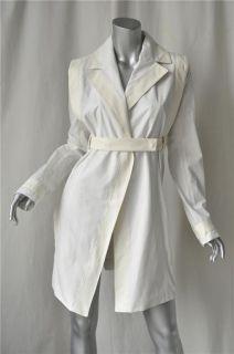 Loewe White Cotton Leather Trench Coat Jacket M 42 New
