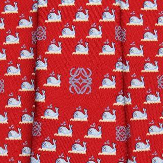 Loewe Tie El Mar Whale on Red Silk Necktie