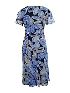 CC Paintstroke floral print dress Blue