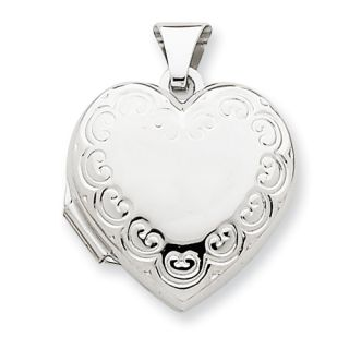 New Polished 14k Yellow or White Gold Domed Heart Shaped Locket