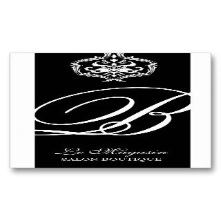 311 Dahlia Damask Monogram Black White Business Card