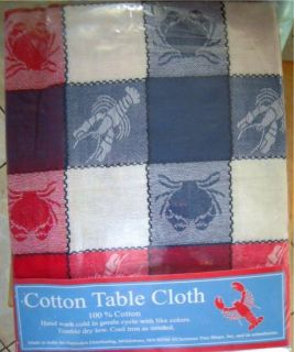Tablecloth Blue Claw Crab Lobster Nautical 52 x 52 Jacquard Plaid