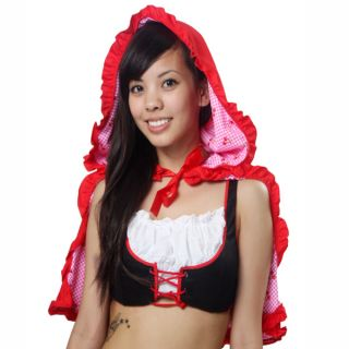 This ladies designer fashion little red riding hood costume skirt hood