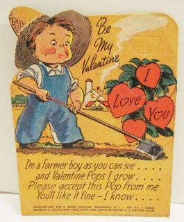 Rosen Valentine Lollipop Holder Card Farmer Boy 40S