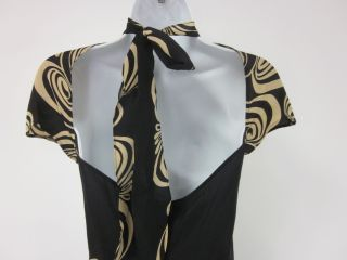 Lolita Lempicka Black Beige Silk Printed Dress Sz 40
