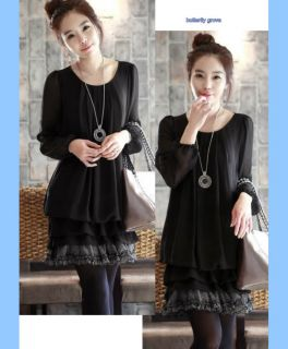 Fashion Black Chiffon Ruffle Long Sleeve Casual Office Top L