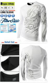 Fit Coolon Casual Tattoo T Shirts Round Long Sleeve Graphic shirts TOP