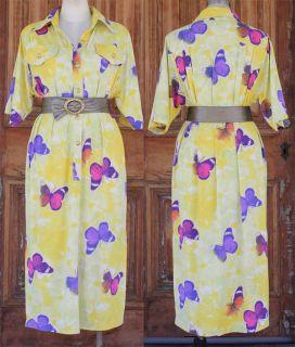 Purple Pink Butterfly Shirt Dress Long Side Split Sz 14 16 Large