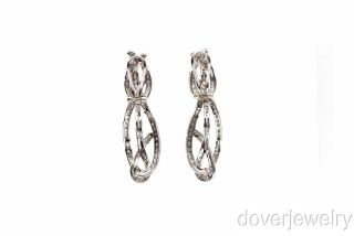 Modern 3 18ct Diamond 18K Gold Long Drop Clip Earrings