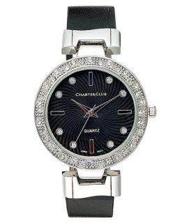 Charter Club Watch, Womens Black Polyurethane Strap 34mm   Fashion