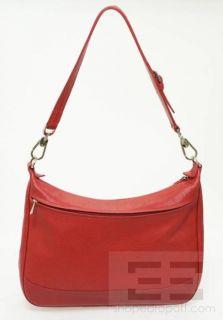 Longchamp Red PEBBLED Leather Silver Hardware Shoulder Bag