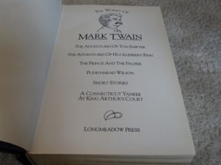 of Mark Twain 6 1 Leather Longmeadow Press Tom Sawyer Huck Finn