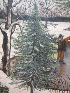 Canvas Painting Primitive Naive Yard Long Farm Skating Pond Yqz