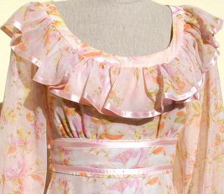 VTG 70s Prairie Hippie Boho Long Sheer Dress Pink Ribbon Trim Frill