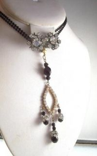 Clear Rhinestone Black Glass Necklace Earrings Married Set