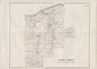 Lorain County Ohio Authentic Antique Highway Map Elyria 102 Years Old