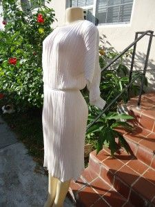 Vintage Loris Azzaro White Knit Wide Sleeves Cocktail Dress Sz M