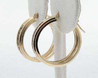 Genuine Diamonds Solid 14k Yellow Gold Hoop Loop Earrings