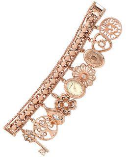 Anne Klein Watch, Womens Rose Gold Tone Charm Bracelet 16mm 10