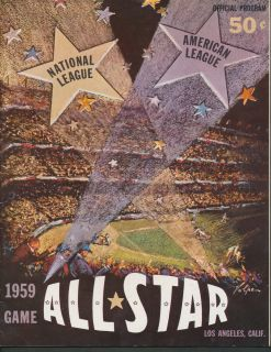 1959 Baseball All Star Game Program Los Angeles American National