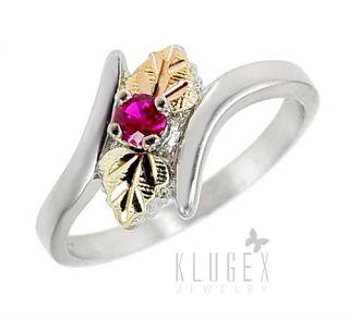 Black Hills Sterling 12K Gold Ring w Ruby Size 7
