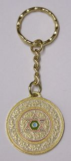 Star of David Key Chain with Jewish Prayer for Travelers Israel