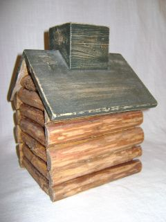 Vtg Log Wooden Cabin Tissue Box Cover Open Chimney to Get Tissues Home