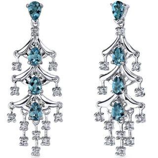 00 cts London Blue Topaz Dangle Earrings in Sterling Silver Rhodium