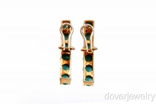 Estate 6 00ct Blue Turquoise 14k Gold Long Drop Clip Earrings