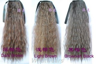 Womens Long Corn Curly Wave Hair Extension Tie Band Ponytail 6 Colors