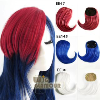 cm Red Dark Blue White Long Straight Fashion Clip on Hair Bangs