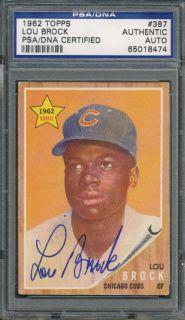 1962 Topps 387 Lou Brock RC PSA DNA Certified Authentic Auto Autograph