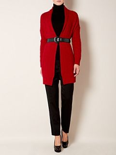 Lauren by Ralph Lauren Cable knit belted cardigan Red
