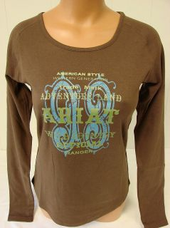New Womens Ariat Long Sleeve Wild Country Graphic Tee Brown 11