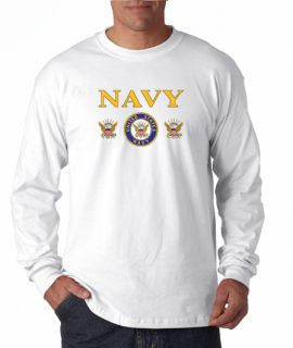 Navy Triple Insignia Design Long Sleeve Tee Shirt