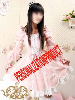 Sweet Lolita White Lace Pink Cotton Ball Gow Cosplay Above Knee Length